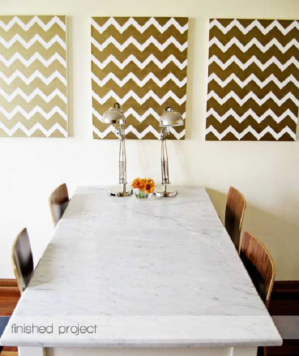 21. DIY Gold Chevron Painting
