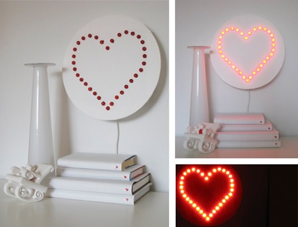 24. DIY Heart Wall Lamp