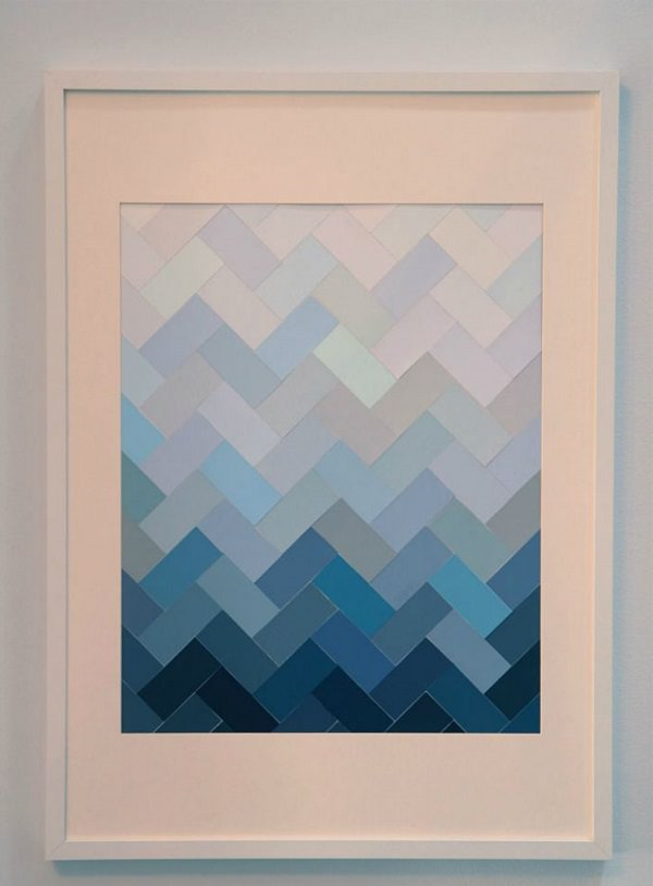 4. DIY Paint Chip Herringbone