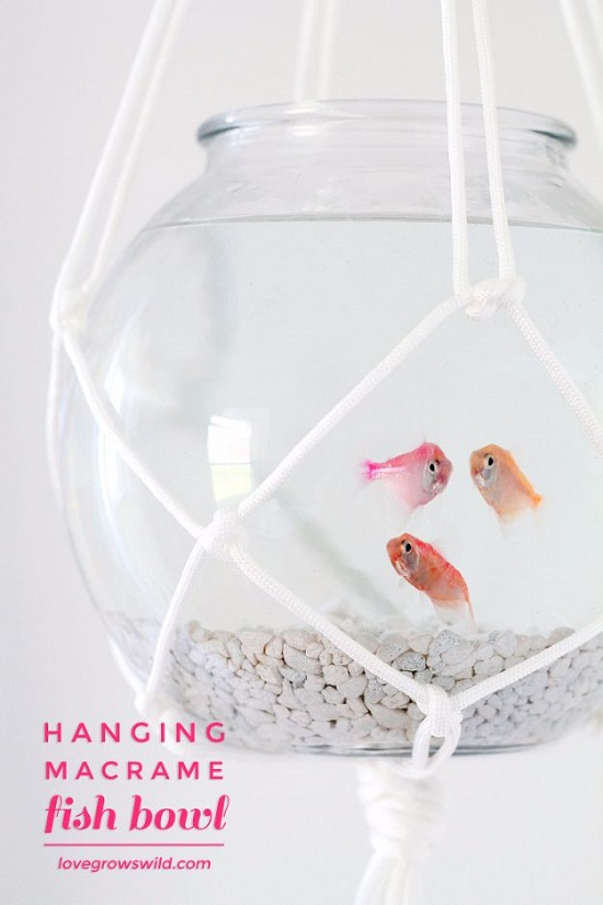 Hanging Macrame Fish Bowl