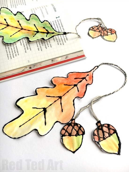 Watercolor Leaf Bookmark