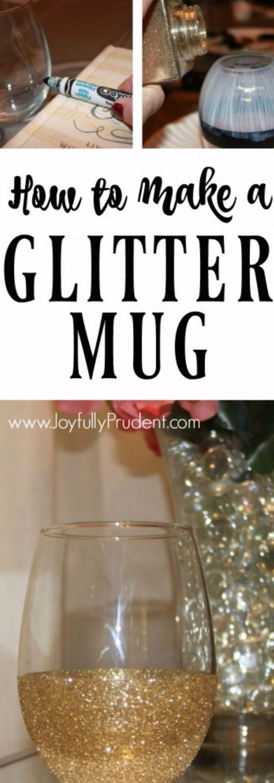 GLITTER DIPPED MUG AND WINE GLASS with mod podge