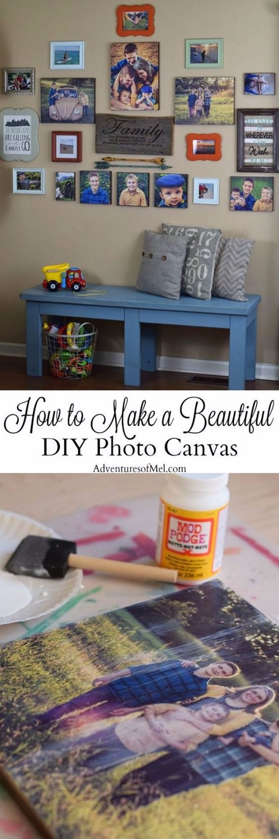 photo canvas craft using mod podge