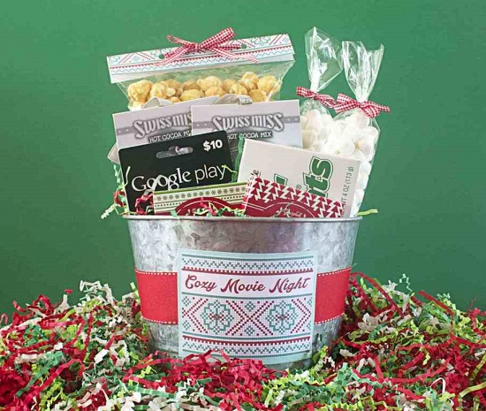 Cozy Movie Night Gift Bucket