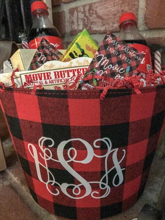 Movie Night Gift Basket With Fabric Basket