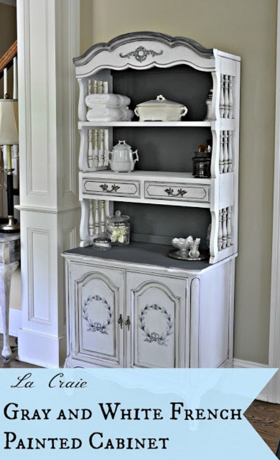 Gray And White French Painted Cabinet
