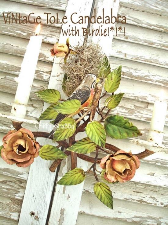 Vintage Tole Candelabra With Birdie