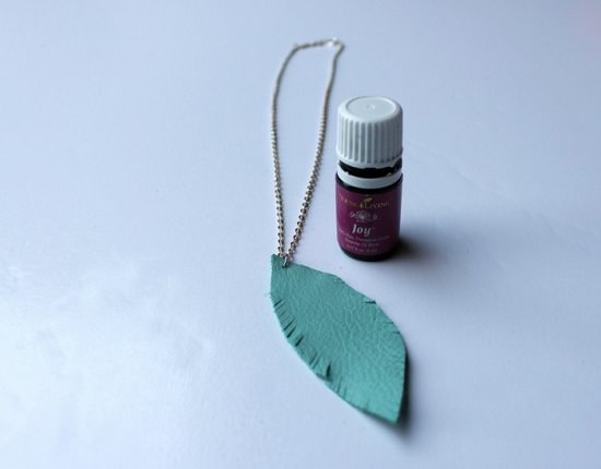 DIY Leather Feather Diffuser Necklace
