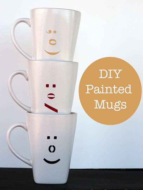 DIY Painted Ceramic Mugs