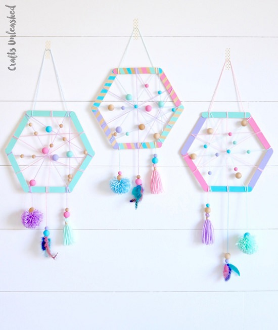 Colorful Hexagonal Hangings