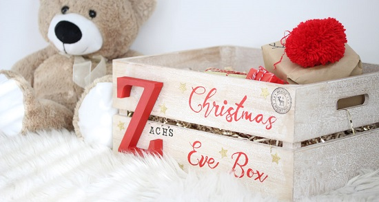 Christmas Eve Wooden Crate Gift Box