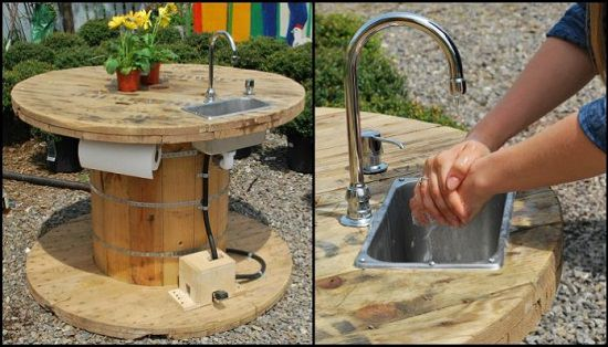 Wooden Cable Spool Sink