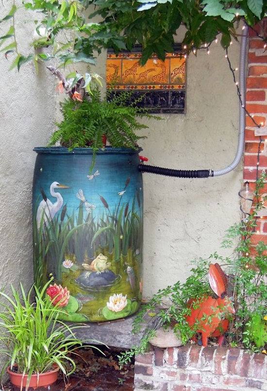 Art On Rain Barrel