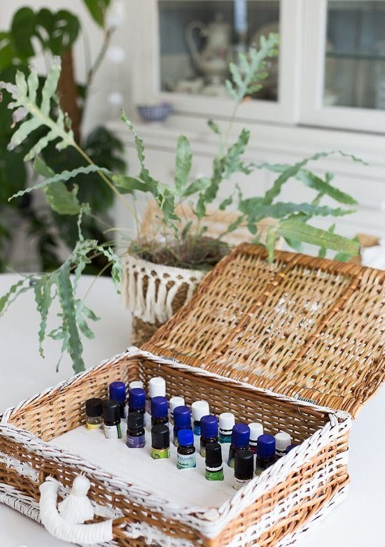 Wooden Basket Essential Oil Storage