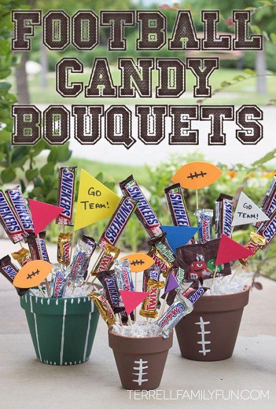 Football Chocolate Candy Bar Bouquet