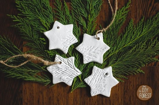 Leaves Stamped Clay Ornaments