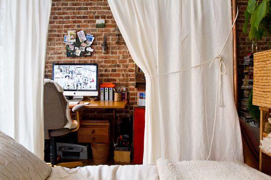 Make Hidden Working Area in Bedroom with Curtain