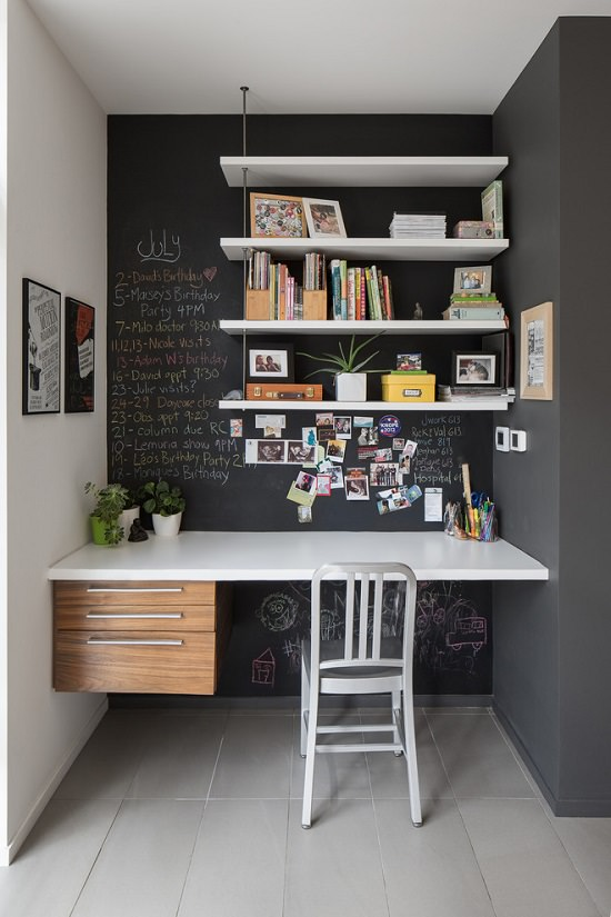 Chalkboard Wall for a Creative Small Home Office