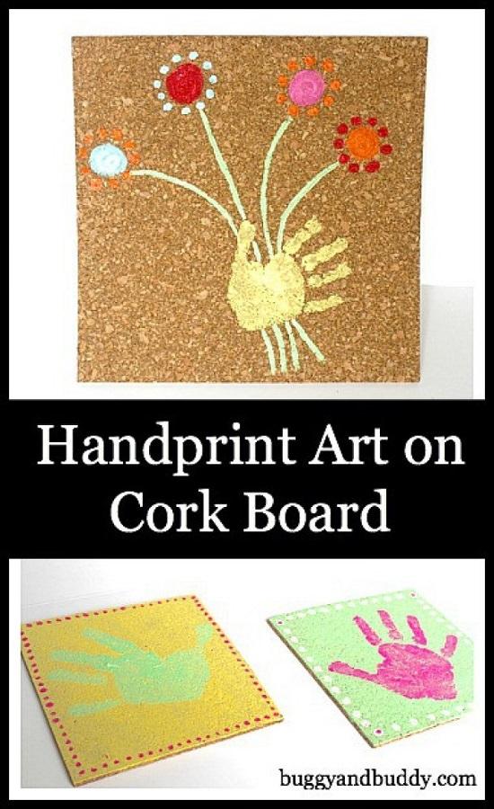Handprint Cork Board Art