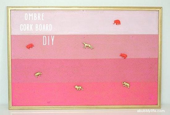 Pink Ombre Cork Board