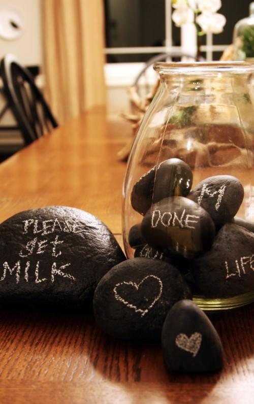 Chalkboard Rocks for Art Idea