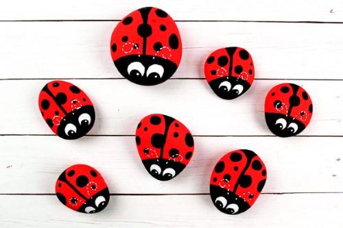 DIY Ladybug Painted Rocks