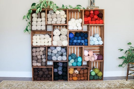 DIY Yarn Storage Shelves