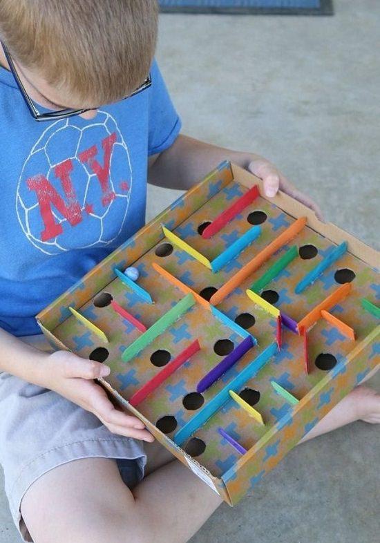 Cardboard Box Labyrinth Game