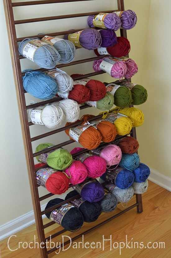 Repurposed Crib Yarn Organizer