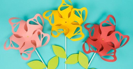 DIY Flower Paper Pinwheels