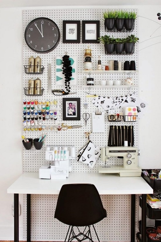 Black and White Pegboard Storage
