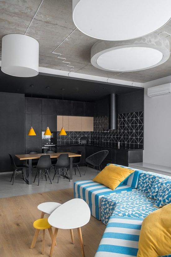 Dark Dining Room Decor with Patterns