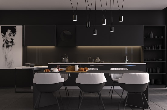 Perfectly Contrasted Dark Dining Room