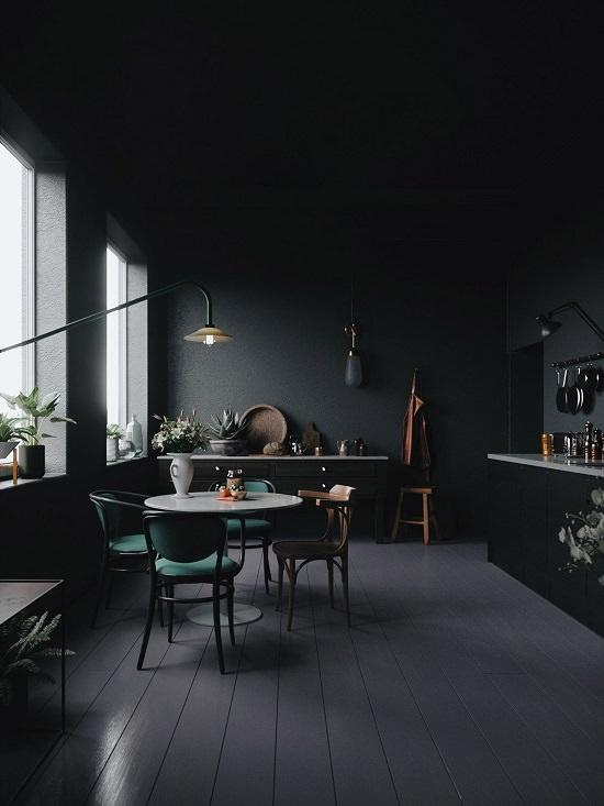 Black Dining Room Decorating Idea